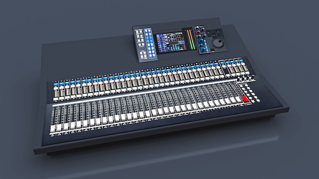 회색 공간에서의 스튜디오 작업 및 라이브 공연을위한 중형 그레이 믹싱 콘솔. 3d 렌더링. 프리미엄 사진
