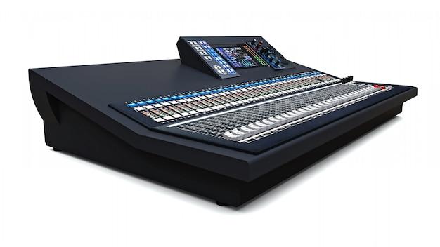 스튜디오 작업 및 공백에서의 라이브 공연을위한 중형 그레이 믹싱 콘솔. 3d 렌더링.