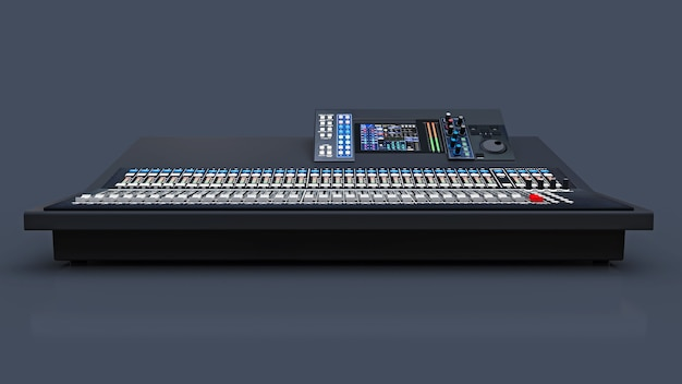 Medium-sized grey mixing console for studio work and live performances on a gray background. 3d rendering.