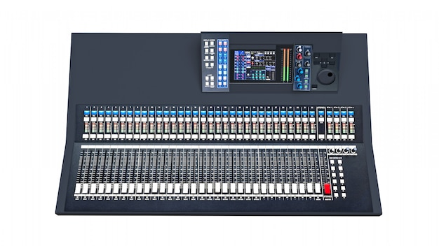 Medium-sized grey mixing console for studio work and live performances on a white space. 3d rendering.
