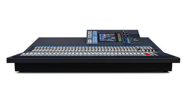 Medium-sized grey mixing console for studio work and live performances on a white