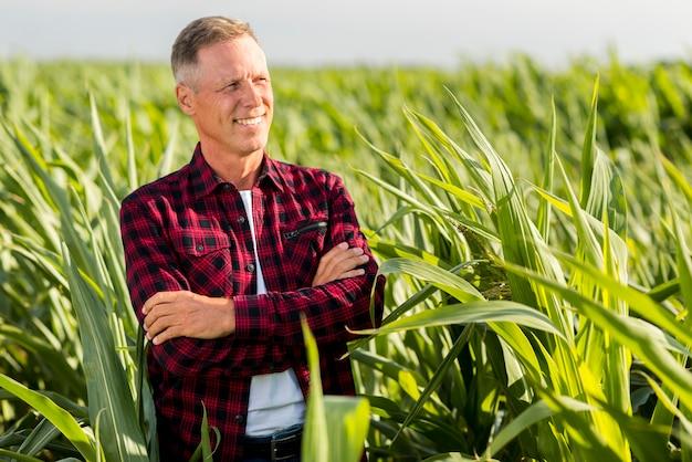 Vista media uomo in un campo di grano