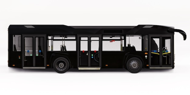 흰색 바탕에 mediun 도시 검은 버스입니다. 3d 렌더링.