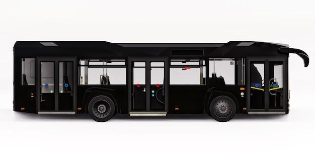 Mediun urban black bus on a white background. 3d rendering.