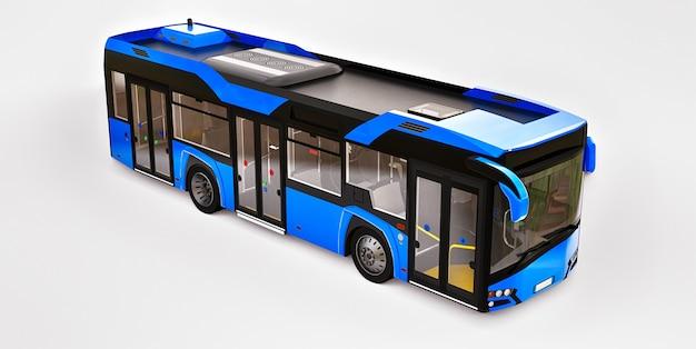 격리 된 흰색 공간에 mediun 도시 블루 버스. 3d 렌더링.