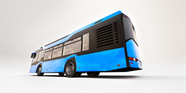 Mediun urban blue bus on a white isolated background. 3d rendering.