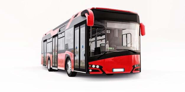 격리 된 흰색 배경에 mediun 도시 빨간 버스. 3d 렌더링.