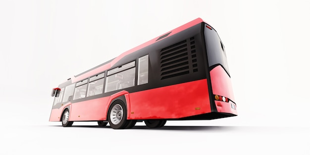 Mediun urban red bus on a white isolated background. 3d rendering.