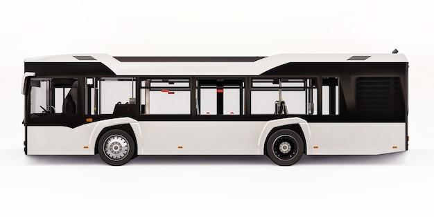 Городской белый автобус mediun на белом изолированном фоне. 3d рендеринг.