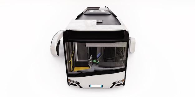 격리 된 흰색 배경에 mediun 도시 흰색 버스. 3d 렌더링.