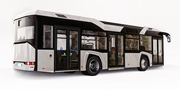 격리 된 흰색 공간에 Mediun 도시 흰색 버스. 3d 렌더링. 프리미엄 사진