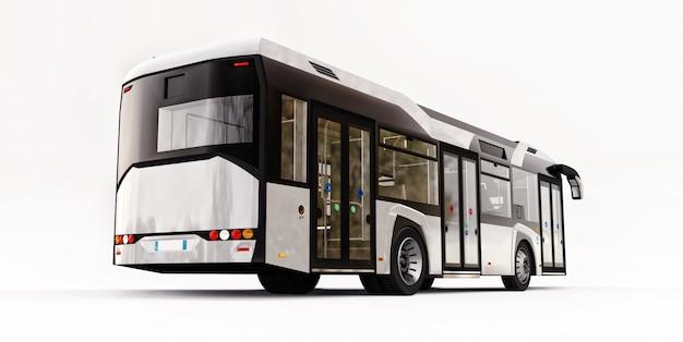 격리 된 흰색 공간에 mediun 도시 흰색 버스. 3d 렌더링.