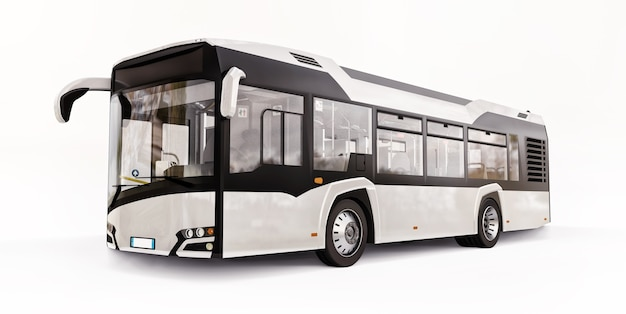 Mediun urban white bus on a white isolated background. 3d rendering.