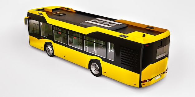 흰색 바탕에 mediun 도시 노란색 버스입니다. 3d 렌더링.