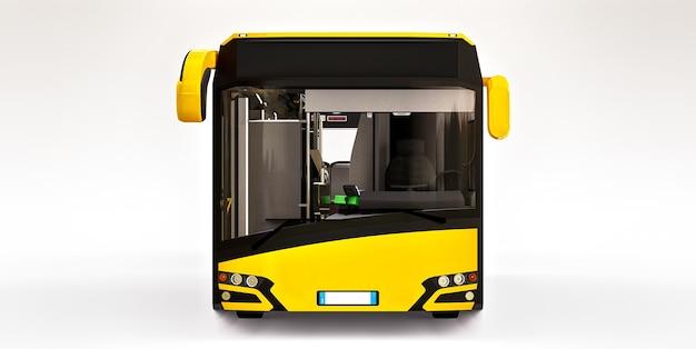 흰색 표면에 mediun 도시 노란색 버스
