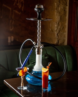 Meduza hookah with cockatails side view