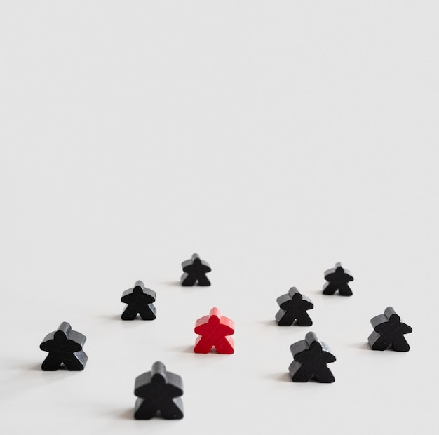 Meeple board game pieces with copy-space