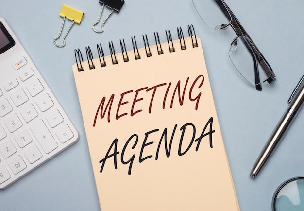회의 의제 비문. 업무 약속, 행사 및 사무실 일정