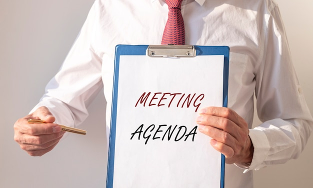 Meeting agenda inscription. business appointment, event and office schedule