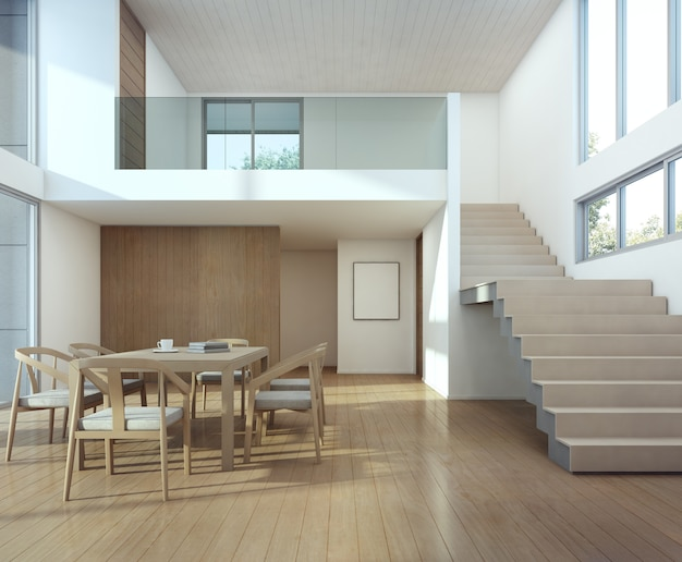 Meeting and dining room in modern house.