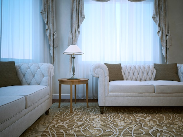 Meeting place in classical apartments and two white sofas with pillows on pattern carpet.