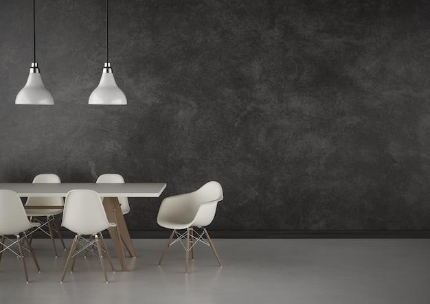Конференц-зал с большой черной стеной и современной мебелью