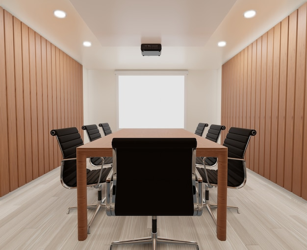 Meeting room with chairs, wooden table, carpet