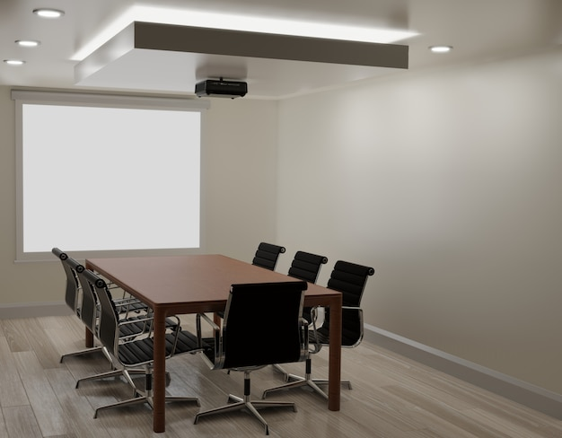 Meeting room with white wall, wooden floor ,projector machine copy space 3d rendering