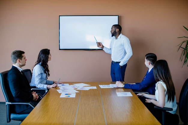 Meeting with white chalkboard