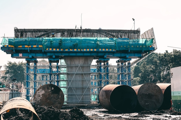Mega construction of bridge foundation and concrete with steel frame