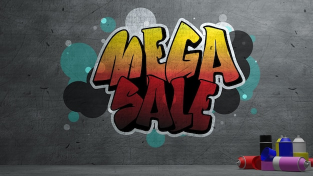Mega sale graffiti on concrete wall  texture stone wall background. 3d rendering