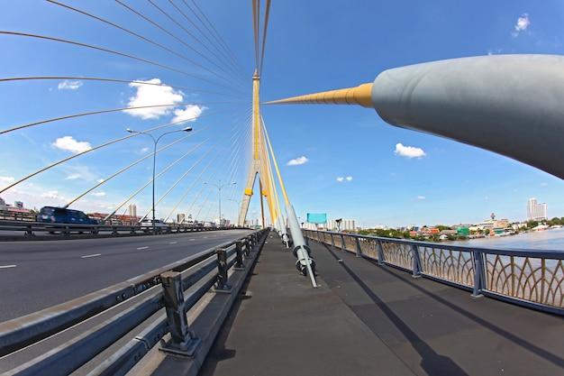 Mega sling bridge,rama 8, near harborin bangkok, fish eye perspective