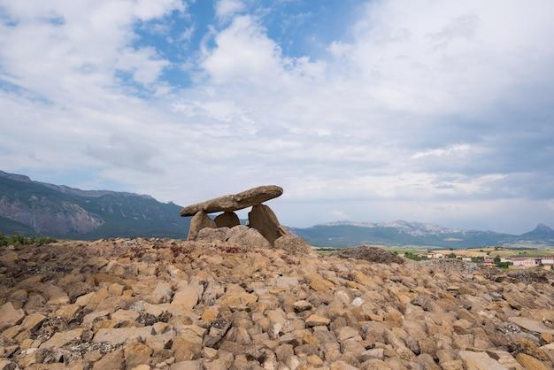 Megalithic dolmen chabola de la hechicera, in la guardia, basque country, spain.