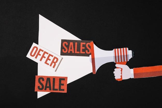 Megafono con offerta di vendita