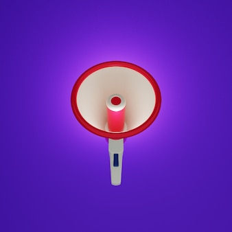 Megaphone front view with violet background in 3d design