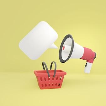 メガホンがバブルスピーチと黄色の赤い買い物かごで発表しています