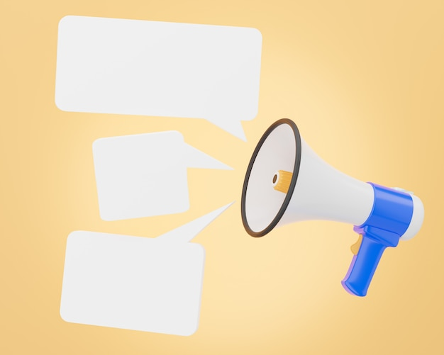 The megaphone is voicing notification sound and appears as an empty message box. 3d illustration.
