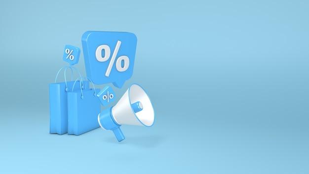 파란색 배경 종이 가방 백분율 기호 3d 그림에 확성기 3d 렌더링 3d 렌더링