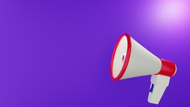 Megaphone side view with violet background in 3d design