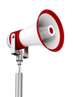 Megaphone on white space. isolated 3d illustration