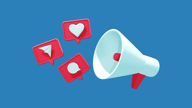 파란색 배경에 격리된 듣기, 메시지, 대화가 있는 날아다니는 소셜 아이콘이 있는 확성기. 3d 렌더링입니다.