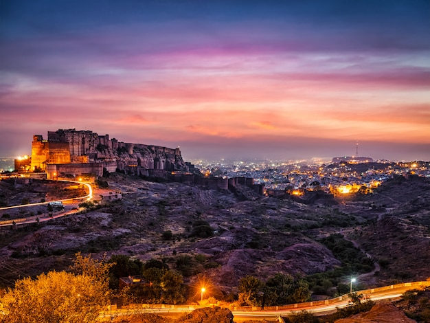 Mehrangarh fort in jodhpur, india at dusk