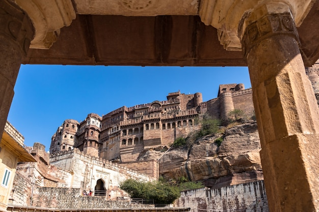 Mehrangarh fort, jodhpur, rajasthan, india, mehrangarh fort on the hill unesco world heritage site famous indian tourist landmark in jodhpur.