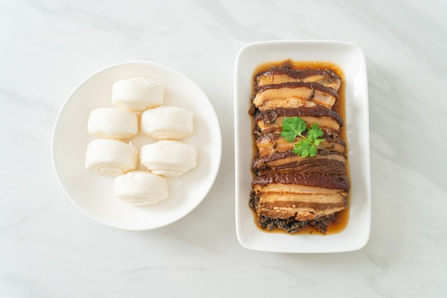 Mei cai kou rou  or steam belly pork with swatow mustard cubbage recipes - chinese food style