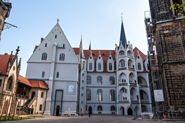 Meissen castle square and cathedral view. albrechtsburg, the former residence of the house of wettin, is regarded as being the first castle to be used as a royal residence
