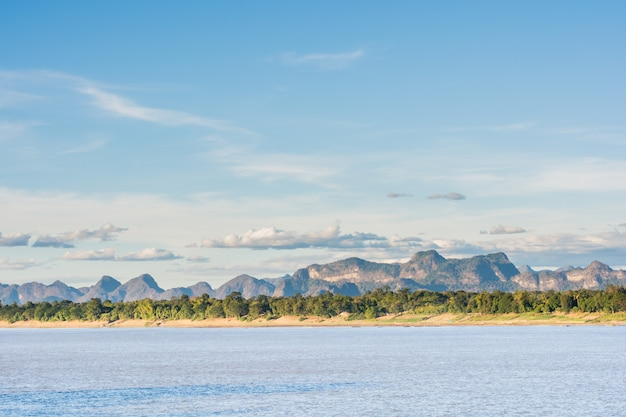 Mekong river and bluesky background,nakhon phanom ,thailand