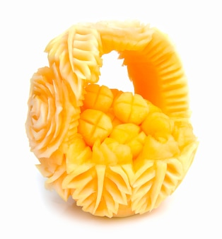Melon, cantaloupe fruit for summer refreshing and healthy decorated with carved melon