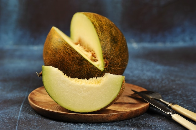 Melon cut in half and into pieces