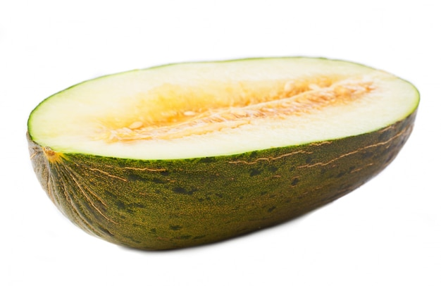 Melon cut in half