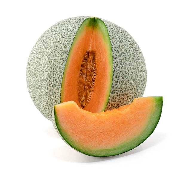 Melon fruit isolated on the white